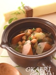 マジョラム香る ひよこ豆とフランクフルトのスープ