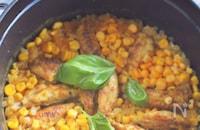 鶏スペアリブとコーンのドライカレー