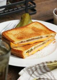 『チーズとハムのフライパンホットサンド』