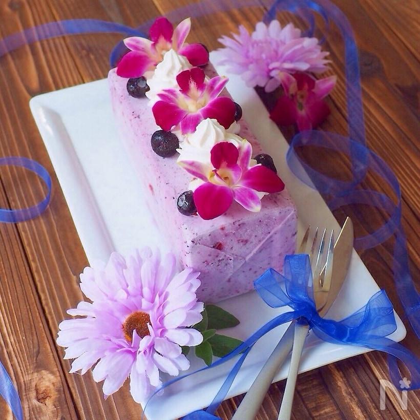 ブルーベリーチーズのアイスケーキ
