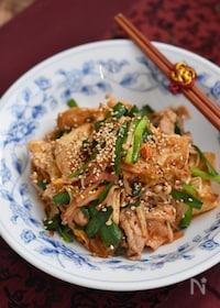『豚こま豆腐とニラのキムチ炒め』