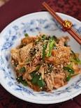 豚こま豆腐とニラのキムチ炒め