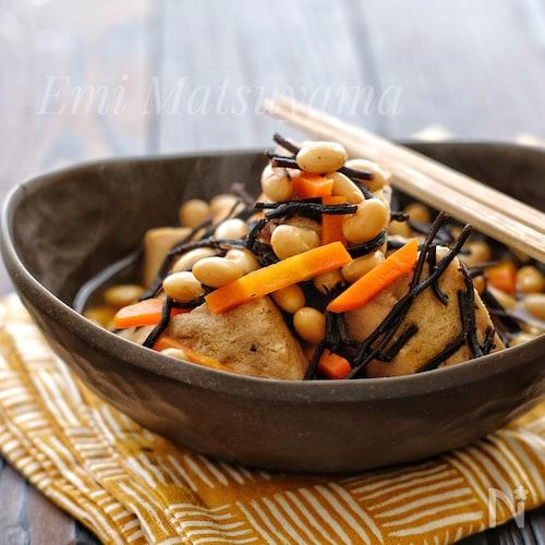 *高野豆腐とひじきと大豆の煮物*作り置きに!