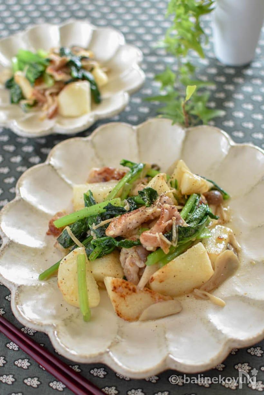 豚肉、長芋、小松菜の塩麹炒めの皿