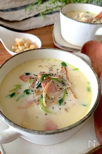 旨味香ばし【えのきとベーコンと豆苗の豆乳スープ】