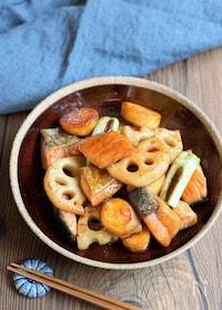 『鮭と根菜の甘辛炒め』