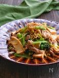 絹揚げと豚こまと豆もやしと小松菜のプルコギ風炒め