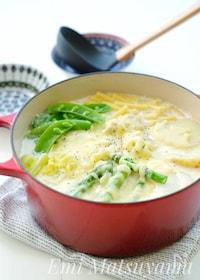 『*マカロニ入り春野菜と鶏肉のミルクチーズスープ*』