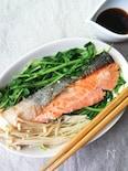 簡単美味しい☆鮭と豆苗とえのきのバターポン酢