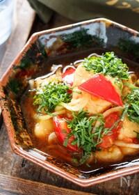 『むね肉とトマトのポン酢南蛮【#作り置き #揚げない】』