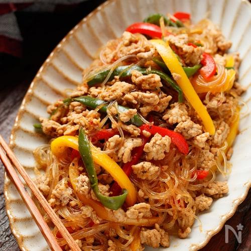 夏野菜とひき肉の彩りポークチャプチェ【#作り置き#お弁当】