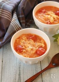 『トマトと卵のチゲ鍋風春雨スープ』