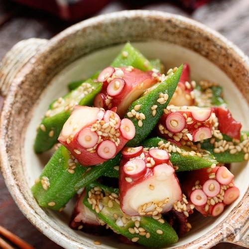 タコとオクラの和風ごまおかかサラダ【#簡単#おつまみ】