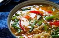 簡単!親子鶏の酸辣湯★釜揚そうめんとそばつゆで本格派トロミ麺
