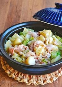 『キャベツ1玉とゴロっとにんにくと豚バラの蒸し煮鍋』