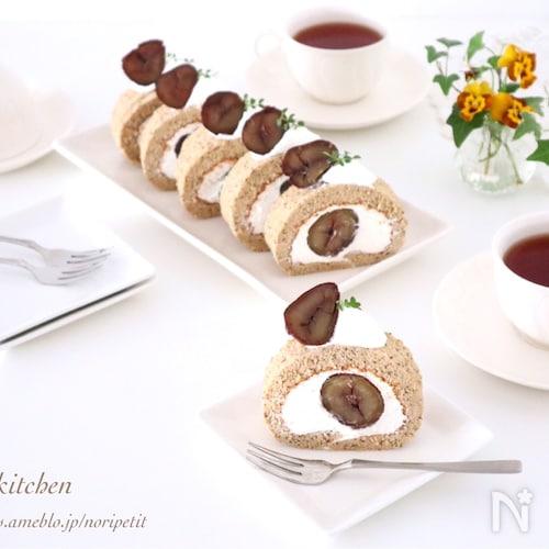 ノンオイルdeふわふわ♡紅茶&栗のシフォンロール