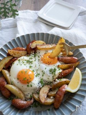 おつまみ・朝食に♪焼いて作るスペイン風ポテト&目玉焼き