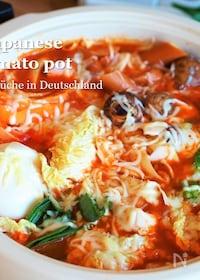 『味噌が隠し味♪【白菜が美味しいチーズ味噌トマト鍋】』