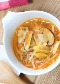 『生姜でポカポカ♪シャキシャキもやし&キムチの春雨スープ』