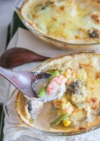 『フライパンで!鮭とエビの白味噌豆乳グラタン』