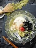 冷んやり風情☆おぼろ豆腐の抹茶塩とんこつラーメン!