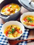 重ねて煮るだけ、豚肉と夏野菜のサフラン煮