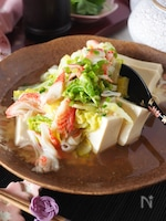 【レンジであったか豆腐】とろとろ白菜カニかまの豆腐とろみあん