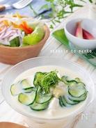火を使わず3分で完成!驚く旨さ♡豆乳豆腐の冷や汁風冷製スープ
