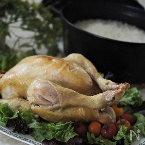 丸鶏で海南鶏飯(ストウブオーブン煮で)