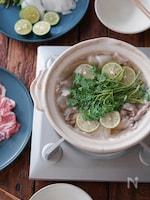 豚とクレソンのスダチ鍋。