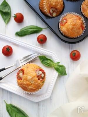 【幼児食】ホットケーキミックスで作る☆ピザ風マフィン