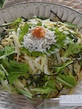 水菜と長芋、梅干しの和風スパゲッティー