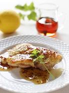 鶏もも肉のパリパリ焼き、メープルレモンソース
