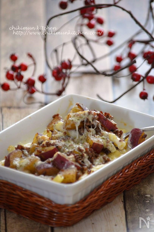 ガラムマサラで風味づけしたひき肉とさつまいもとマカロニのグラタン