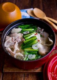 『豚バラとキャベツでもつ鍋風スープ【食べるスープ】』