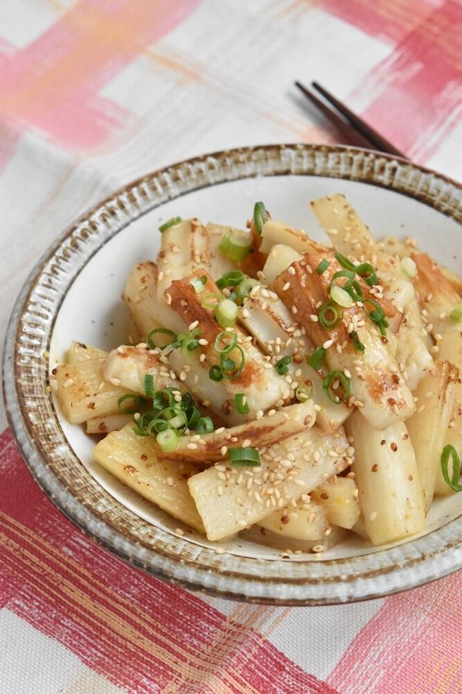 竹輪と長芋の粒マスタード炒め【作り置き】