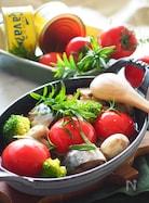 【鯖缶の栄養丸ごと使って】鯖缶とトマトのアヒージョ♪