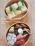 三つ葉結び寿司&ホタテとコンニャク醤油煮