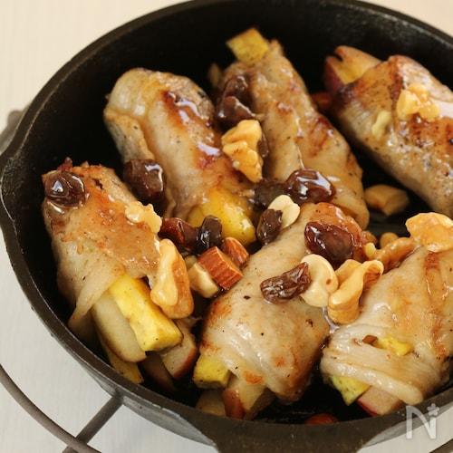 豚肉とさつまいもとりんごのグリル☆ハニマスタードナッツソース