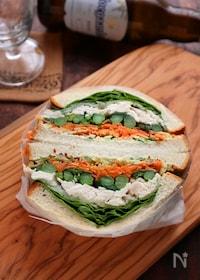 『菜の花とささみのボリュームサンドイッチ』