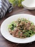 美味しい節約レシピ♡豚こまと豆苗のガーリックねぎ塩レモン炒め