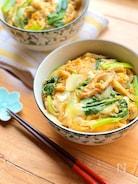 小松菜とちくわの卵とじ丼
