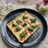 簡単おつまみ!菜の花と酒盗の風味がたまらない油揚げピザ