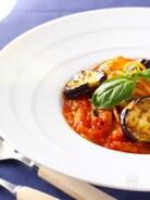 ナスとトマト、モッツァレラのスパゲッティーニ