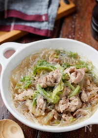 『生姜たっぷり♡豚こまと白菜の中華風春雨スープ【#包丁不要】』