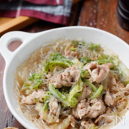 生姜たっぷり♡豚こまと白菜の中華風春雨スープ【#包丁不要】