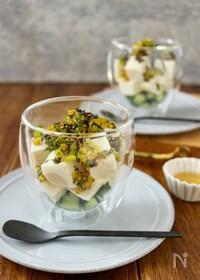 『グラス仕立ての豆腐の薬味サラダ』