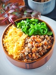 作り置き鯖そぼろの三色弁当#お肉と騙されます!!