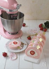 『苺のピンクロールケーキ』