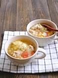 うどんスープで簡単!鶏肉とプチトマトと卵のにんにくスープ